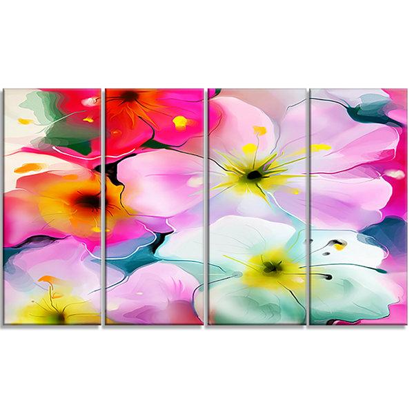 Design Art Colorful Watercolor Floral Pattern Extra Large Floral Wall Art - 4 Panels