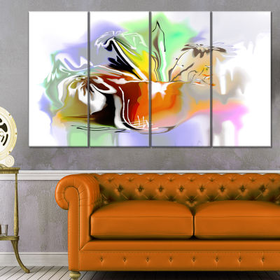 Designart Bouquet Of Abstract Flowers Extra LargeFloral Wall Art - 4 Panels