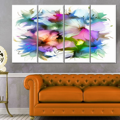 Designart Watercolor Floral Bouquet Extra Large Floral Wall Art - 4 Panels