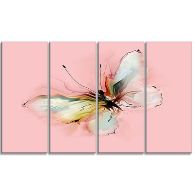 Designart Colorful Butterfly Drawing Extra LargeFloral Wall Art - 4 Panels