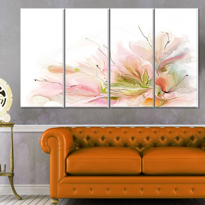 Designart Floral Abstract Design On White Extra Large FloralWall Art - 4 Panels