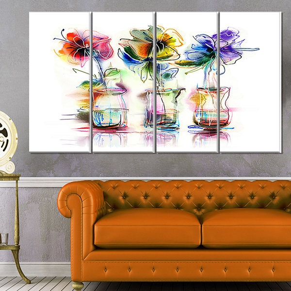 Design Art Abstract Flowers In Glass Vases Extra Large FloralWall Art - 4 Panels