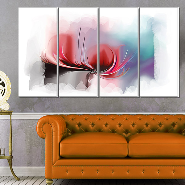 Designart Red Abstract Flower Illustration ExtraLarge Floral Wall Art - 4 Panels
