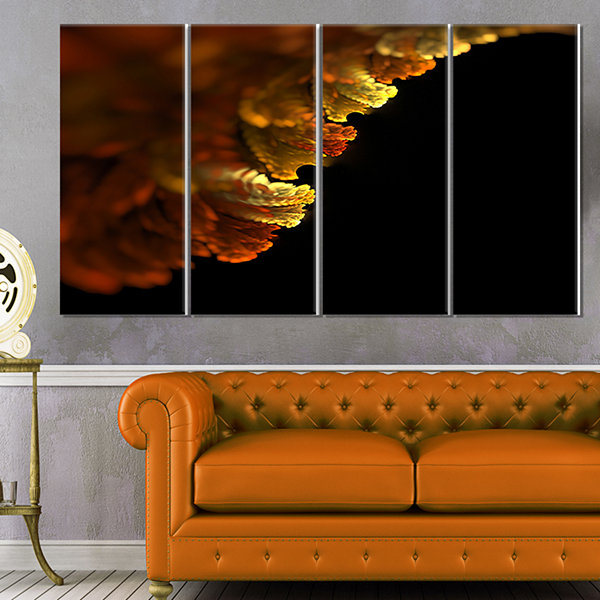 Designart Abstract Yellow Flower On Black Extra Large FloralWall Art - 4 Panels