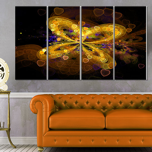Design Art Fractal Yellow Butterfly Pattern ExtraLarge Floral Wall Art - 4 Panels