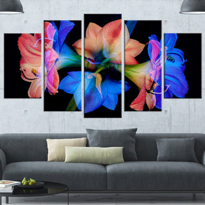 Designart Abstract Blue Red Flower On Black Red Extra LargeFloral Wall Art - 5 Panels