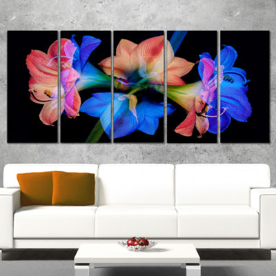 Designart Abstract Blue Red Flower On Black ExtraLarge Floral Wall Art - 5 Panels