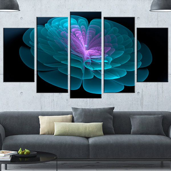 Designart Abstract Blue Floral Fractal BackgroundBlue ExtraLarge Floral Wall Art - 5 Panels