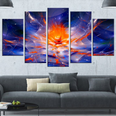 Designart Colorful Glowing Space Flower Fractal Blue Extra Large Floral Wall Art - 5 Panels