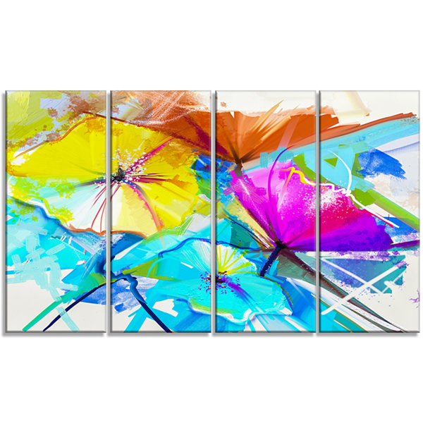 Designart Abstract Spring Flowers Still Life ExtraLarge Floral Wall Art - 4 Panels