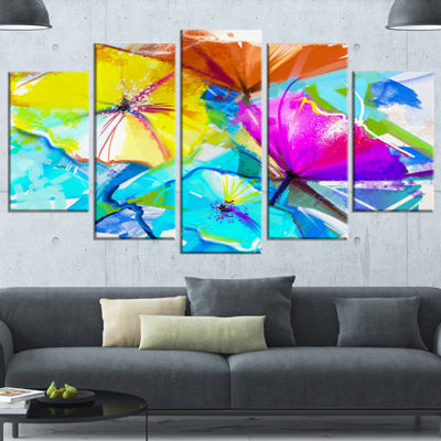 Designart Abstract Spring Flowers Still Life BlueExtra Large Floral Wall Art - 5 Panels