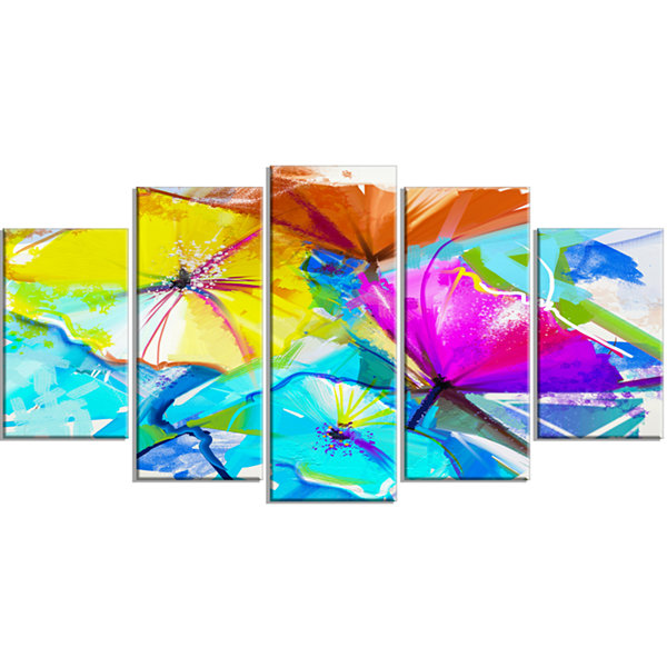 Design Art Abstract Spring Flowers Still Life BlueExtra Large Floral Wall Art - 5 Panels