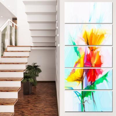 Designart Still Life Yellow Red Gerbera Flower Large Floral Canvas Art Print - 4 Panels