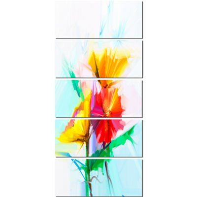 Designart Still Life Yellow Red Gerbera Flower Large Floral Canvas Art Print  - 5 Panels