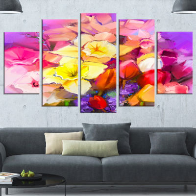 Design Art Bouquet Of Daffodil And Tulip Flowers Large Floral Canvas Art Print - 5 Panels