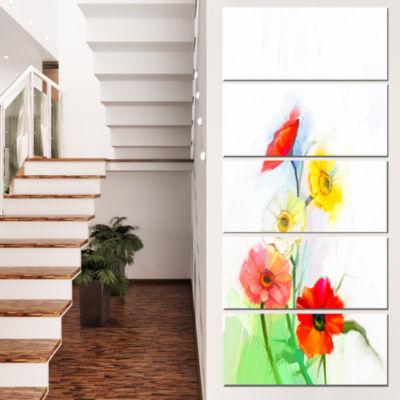 Still Life Colored Gerbera Flowers Large Floral Canvas Art Print - 4 Panels
