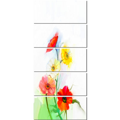 Designart Still Life Colored Gerbera Flowers LargeFloral Canvas Art Print  - 5 Panels