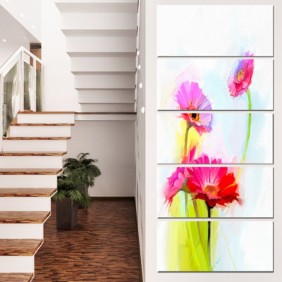 Designart Still Life Cute Red Gerbera Flowers Large Floral Canvas Art Print - 4 Panels