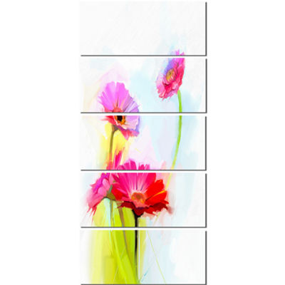Designart Still Life Cute Red Gerbera Flowers Large Floral Canvas Art Print  - 5 Panels