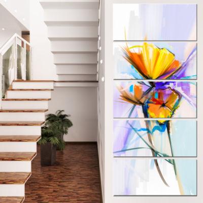 Designart Bouquet Flowers On Light Green Blue Large Floral Canvas Art Print  - 5 Panels