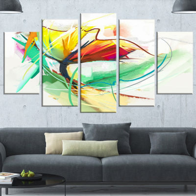 Designart Still Life Of Yellow Red Color Flower Large Floral Canvas Art Print - 5 Panels