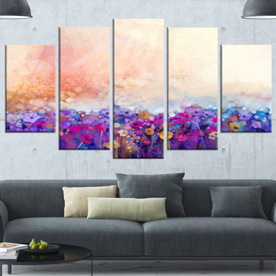 Designart Abstract Flower Watercolor Painting Purple Large Floral Canvas Art Print - 5 Panels