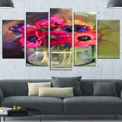 Designart Red Anonymous Flower Bouquet Large Floral Canvas Art Print - 4 Panels