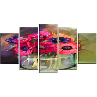 Designart Red Anonymous Flower Bouquet Large Floral Wrapped Canvas Art Print - 5 Panels