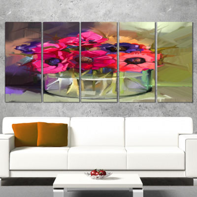 Designart Red Anonymous Flower Bouquet Large Floral Canvas Art Print - 5 Panels