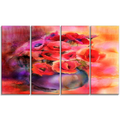 Designart Bouquet Of Cute Poppies In Vase Large Floral Canvas Art Print - 4 Panels