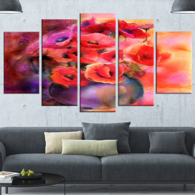 Designart Bouquet Of Cute Poppies In Vase Large Floral Wrapped Canvas Art Print - 5 Panels