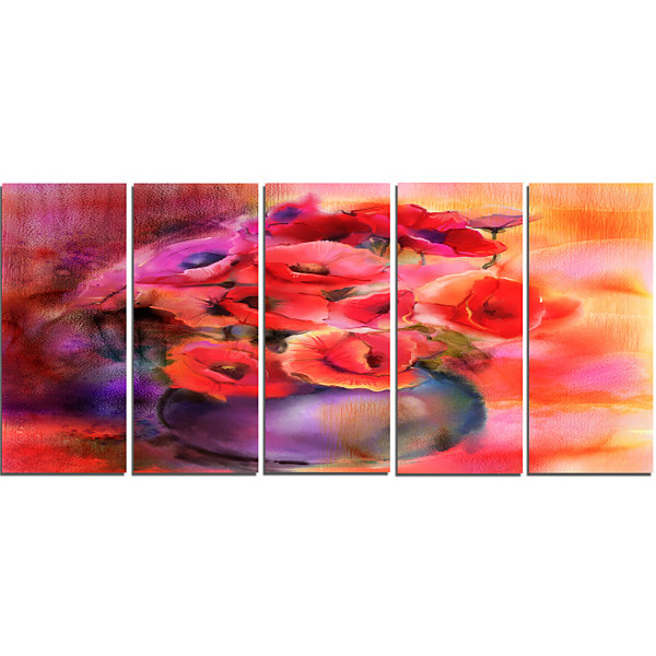 Designart Bouquet Of Cute Poppies In Vase Large Floral Canvas Art Print - 5 Panels