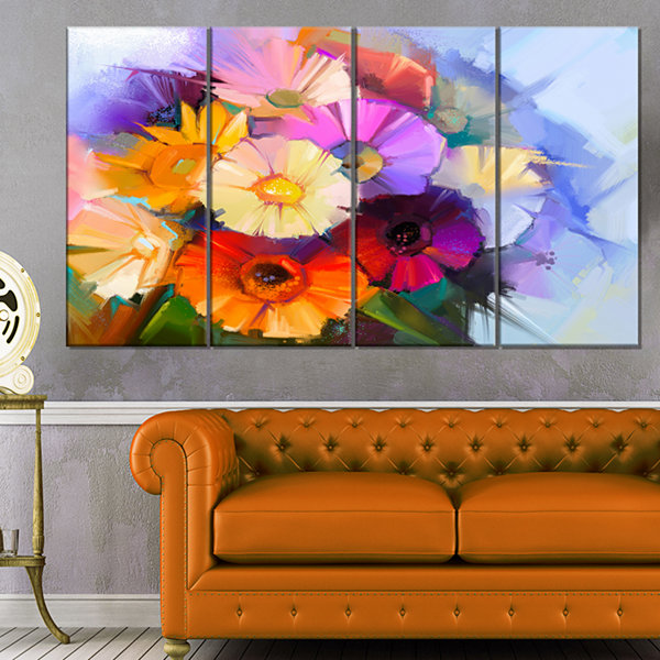Designart Colored Gerbera Flowers Bouquet Large Floral Canvas Art Print - 4 Panels