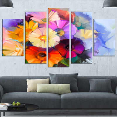 Colored Gerbera Flowers Bouquet Large Floral Wrapped Canvas Art Print - 5 Panels