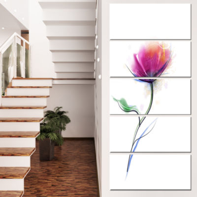 Designart Vector Watercolor Floral Design Large Floral Canvas Art Print - 4 Panels