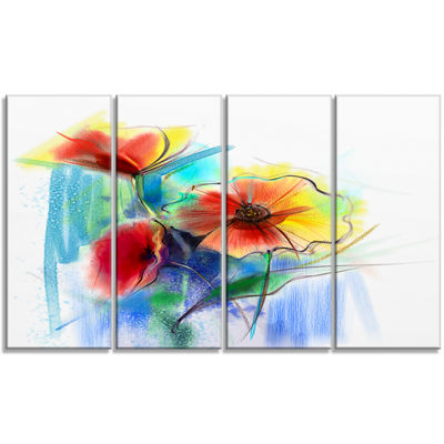 Designart Watercolor Multi Color Flower Illustration Large Floral Canvas Art Print - 4 Panels