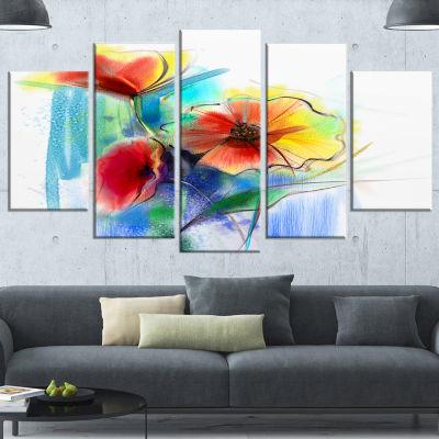 Design Art Watercolor Multi Color Flower Illustration Large Floral Wrapped Canvas Art Print - 5 Panels