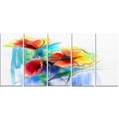 Designart Watercolor Multi Color Flower Illustration Large Floral Canvas Art Print - 5 Panels