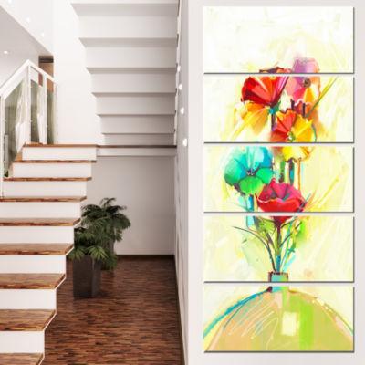 Designart Spring Flowers Bouquet In A Vase LargeFloral Canvas Art Print  - 5 Panels