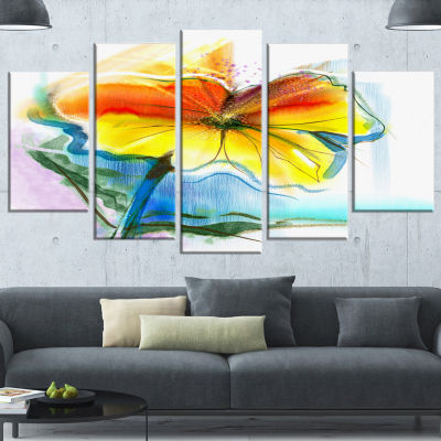 Designart Hand Painted Yellow Pink Red Daisies Large FloralWrapped Canvas Art Print - 5 Panels