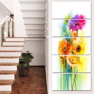 Designart Yellow Orange Purple Gerbera Flowers Large Floral Canvas Art Print - 4 Panels