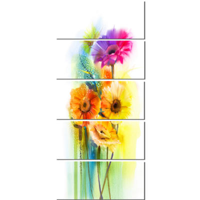 Designart Yellow Orange Purple Gerbera Flowers Large Floral Canvas Art Print  - 5 Panels