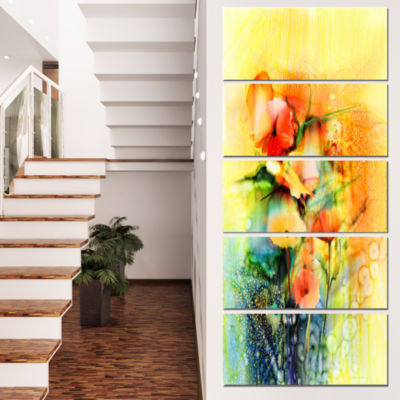 Designart Colored Watercolor Flowers On Yellow Large Floral Canvas Art Print - 4 Panels
