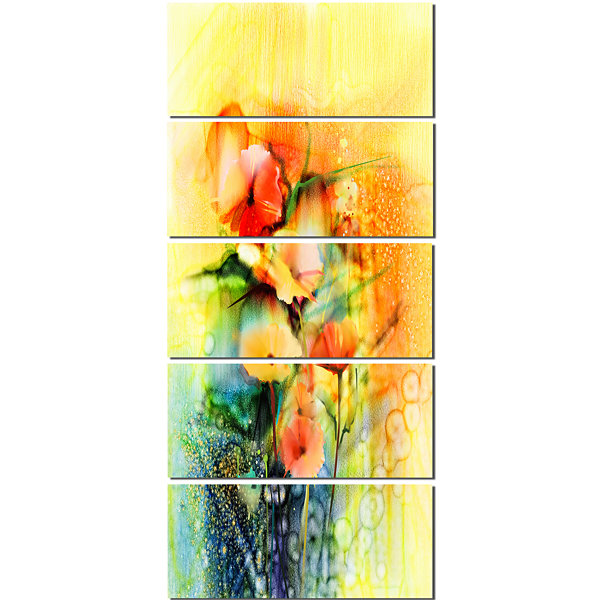Designart Colored Watercolor Flowers On Yellow Large Floral Canvas Art Print  - 5 Panels