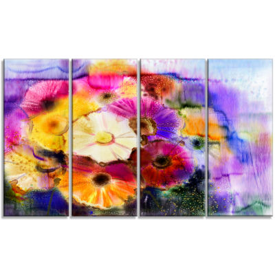 Bunch Of Colored Daisy Flowers Large Floral CanvasArt Print - 4 Panels