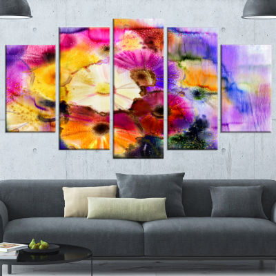 Designart Bunch Of Colored Daisy Flowers Large Floral Wrapped Canvas Art Print - 5 Panels