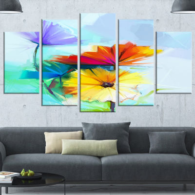 Designart Amazing Watercolor Of Spring Daisies Blue Large Floral Canvas Art Print - 5 Panels