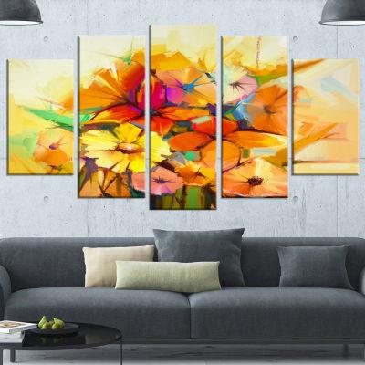 Fantastic Colorful Gerbera Flowers Large Floral Wrapped Canvas Art Print - 5 Panels