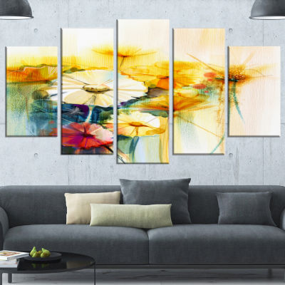 Designart Bunch Of White Yellow Flowers Large Floral Wrapped Canvas Art Print - 5 Panels