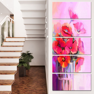 Bouquet Of Poppies In Glass Vase Large Floral Canvas Art Print  - 5 Panels